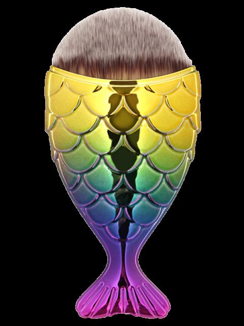 trendy Mermaid Design Portable Facial Makeup Brush - YELLOW + PURPLE  Mobile