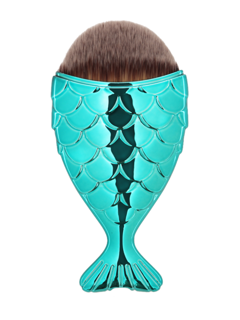 chic Mermaid Design Portable Facial Makeup Brush - BLUE GREEN  Mobile