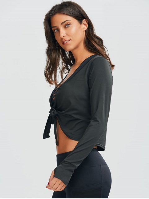 shops Plunging Neck Thumbhole Knotted Sports Top - BLACK L Mobile