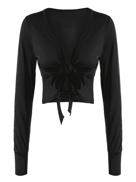 latest Plunging Neck Thumbhole Knotted Sports Top - BLACK M Mobile