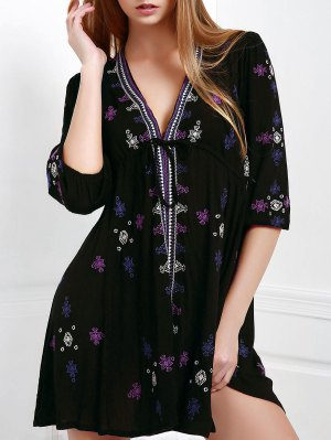Embroidered Drawstring Design Mini Dress