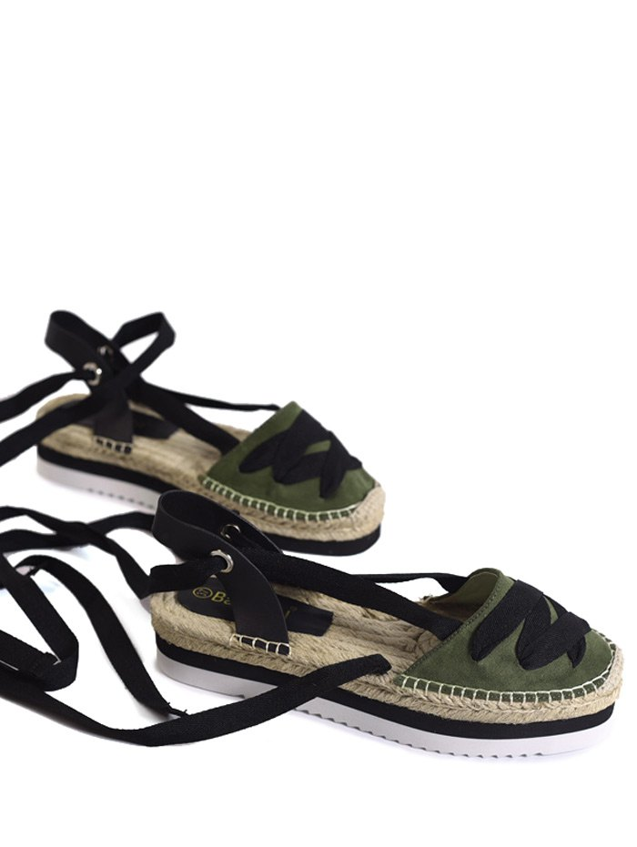 Tie Leg Closes Toe Espadrille Sandals, Army green