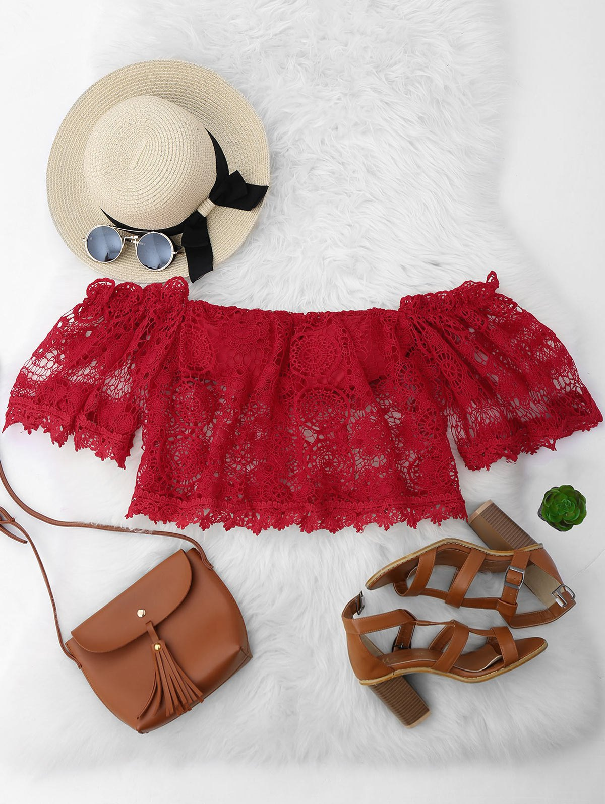 Cropped Padded Off Shoulder Lace Top 214580002