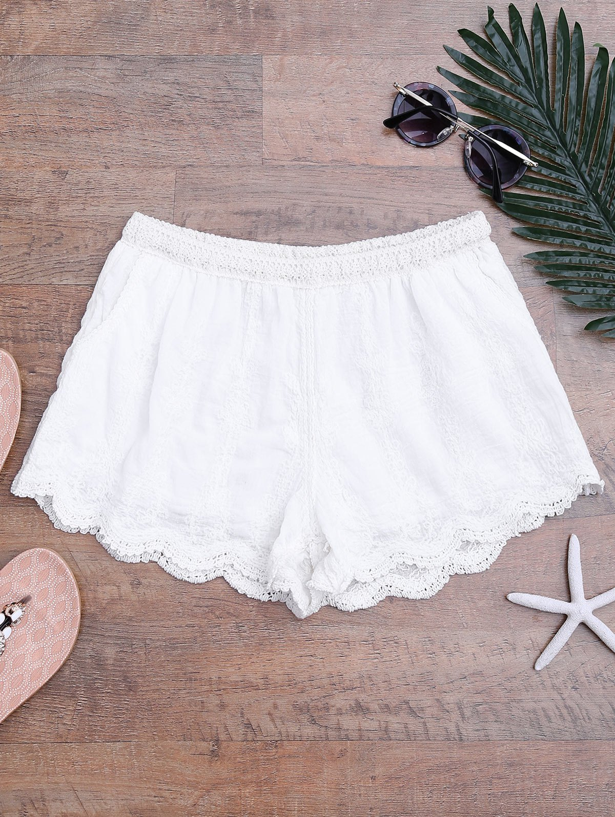 Scalloped Hem Lined Cover Up Shorts, White