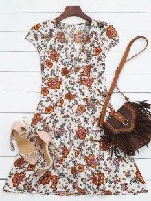 Vestido Escotado Con Cuello En V De Flores - Blanco L