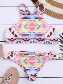 Aztec Print High Neck Bathing Suit - Multicolor M