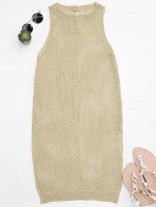 Open Knit Beach Tank Dress Cover Up - Golden