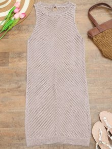 Open Knit Beach Tank Dress Cover Up - Pink