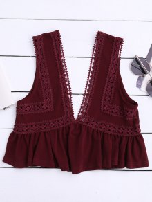 Ruffles Lace Trim Cropped Tank Top - Wine Red S