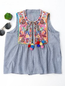 Embroidered Open Front Waistcoat with Bell