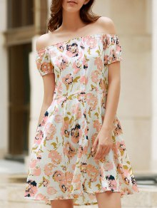 Floral Off The Shoulder Short Sleeve Dress