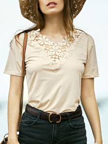 Lace Spliced V-Neck Short Sleeve T-Shirt