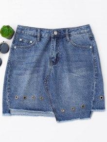Mini Cutoffs falda asimétrica de dril de algodón
