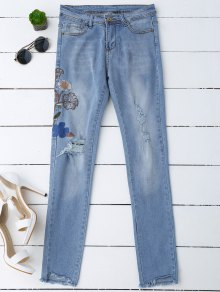 Ripped Floral Embroidered Sequins Jeans - Denim Blue L