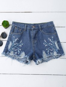 Embroidered Cutoffs Ripped Denim Shorts