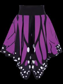 High Waist Butterfly Shape Skirt - Purple S