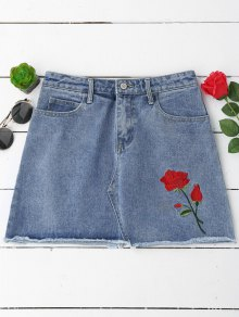 Floral Embroidered Cutoffs Mini Denim Skirt - Denim Blue M