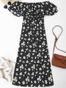 Ruffles Floral Off Shoulder Beach Dress