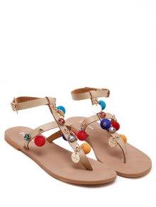 T Bar Pompon Flat Heel Sandals - Apricot 38
