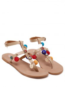 T Bar Pompon Flat Heel Sandals