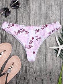 Tiny Floral High Cut Thong Swim Bottoms
