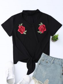 Choker Knot Hem T-shirt With Embroidered Flowers