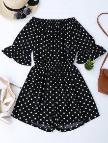 Off The Shoulder Polka Dot Romper - Black M