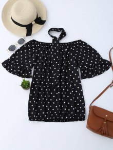 Off Shoulder Polka Dot Blouse With Choker
