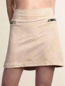 من جلد الغزال زيبر مزين البسيطة التنورة - زهري Xl
