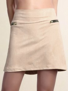 Suede Zipper Embellished Mini Skirt