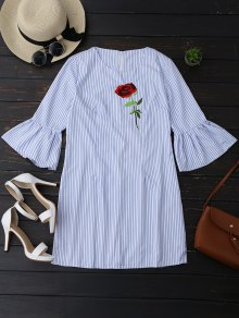 Striped Tunic Dress With Embroidered Rose - Stripe S