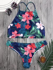 Tropical Floral High Neck Ruffles Bikini
