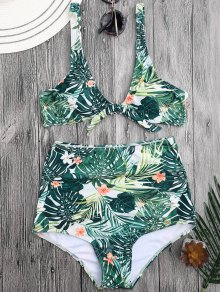 Bikini à La Taille Haute à Fleurs Tropicales - Floral S