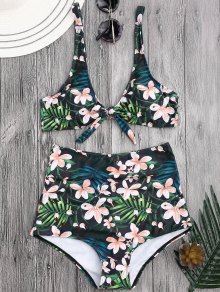 Scoop Tropical Floral Tied High Waisted Bikini - Floral L