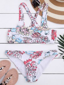 Floral Print Square Neck Bikini Set