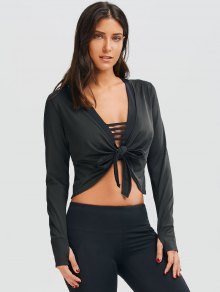 Plunging Neck Thumbhole Knotted Sports Top - Black M