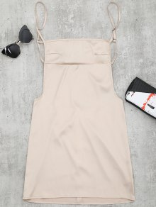 Backless Mini Slip Dress - Apricot S