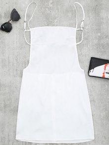 Mini Vestido De Tirantes Finos Sin Espalda - Blanco M