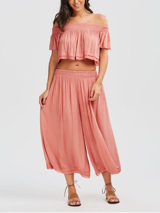 shops Off Shoulder Top and Wide Leg Capri Pants - PAPAYA M