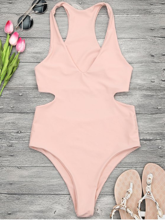 lady V Neck Cut Out One Piece Swimsuit - ORANGEPINK S