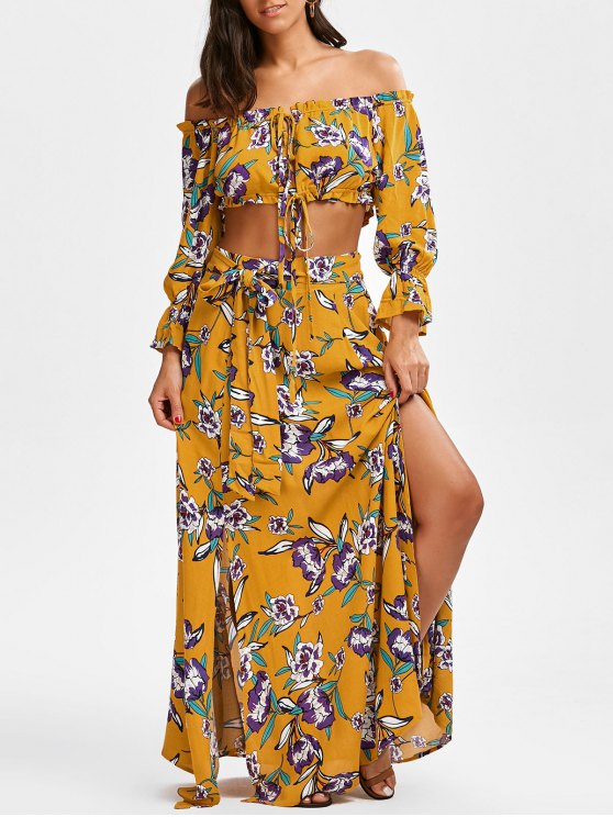 fashion String Floral Cropped Top and Belted Maxi A-Line Skirt - FLORAL S
