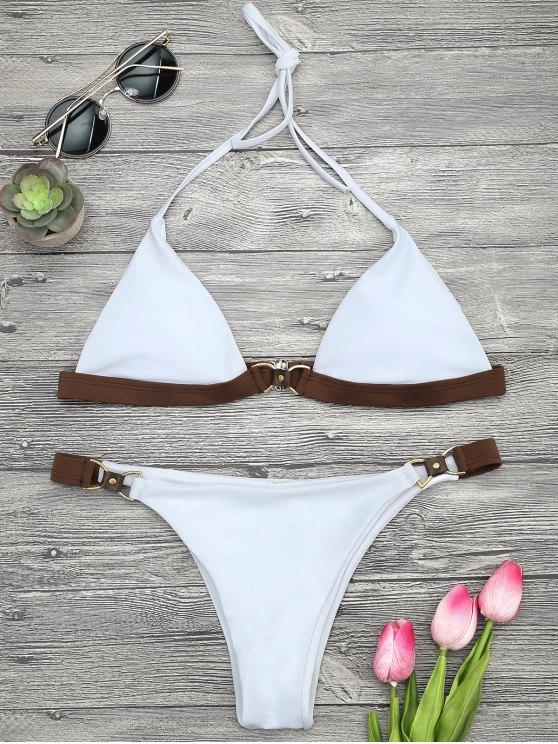 Juego de bikini de color azul - Blanco L