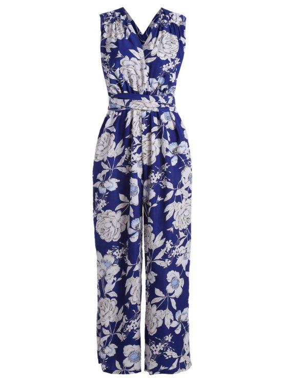 combinaison à motif floral et à col plogeant - Bleu XL