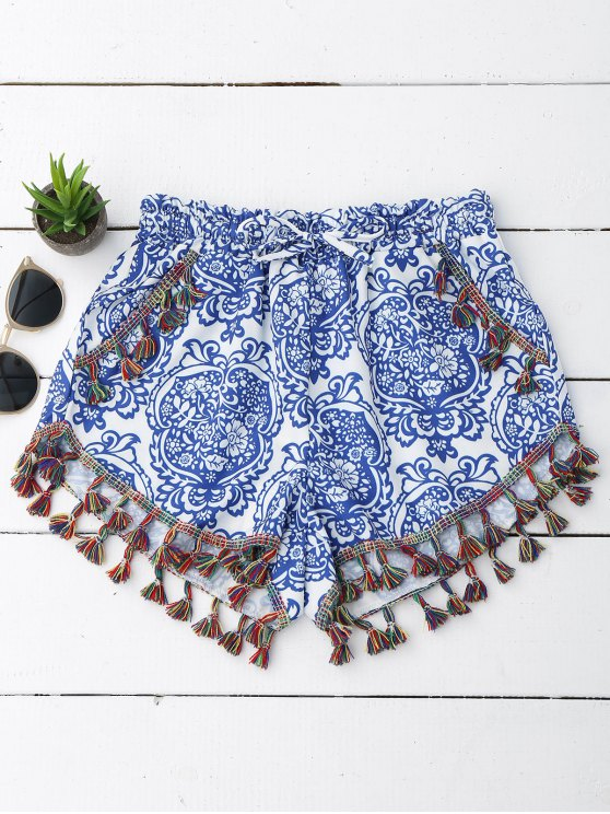 Printed Ethnic Tassels Shorts - Azul y Blanco 2XL