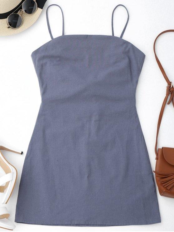 High Cut Bowknot Mini Slip Dress - Gris S