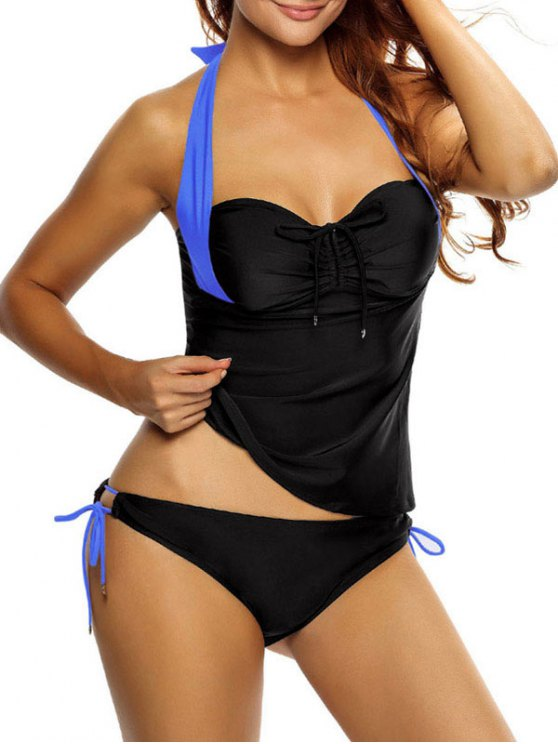 sale Tankini Top and Loop Tie Side Bottoms - BLUE AND BLACK L