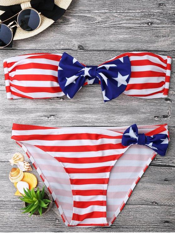 Bow Bandera Americana Patriótico Bandeau Bikini Set - Rojo+Blanco+Azul L