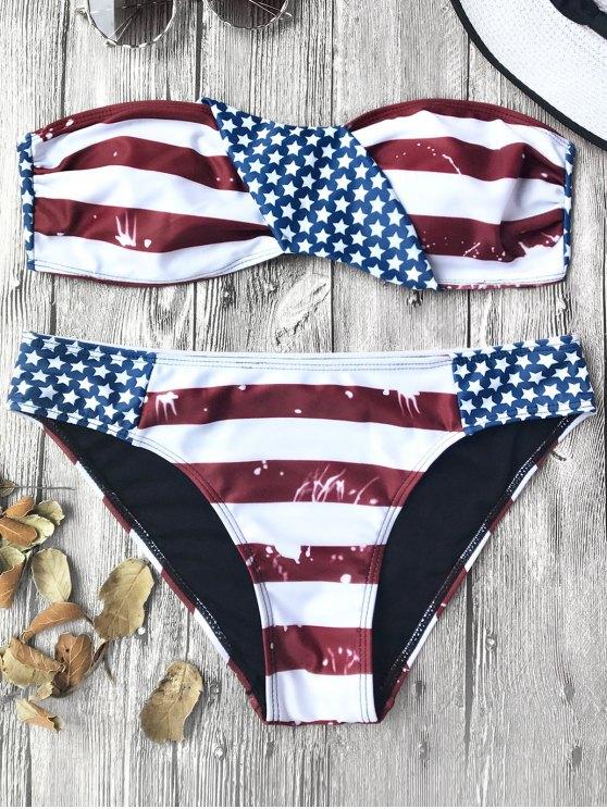 Bandera americana Patriótico Bandeau Bikini Set - Rojo+Blanco+Azul M