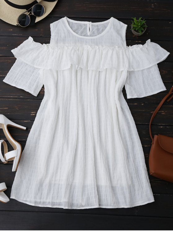 chic Cold Shoulder Ruffle Dress With Crease - WHITE S