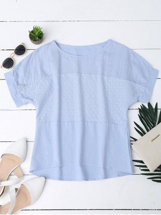 Top en mousseline de soie brodée florale - Bleu XL